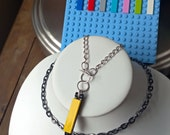 Lego Vertical Bar Toggle Necklace with Bi-Color Heavy Chain
