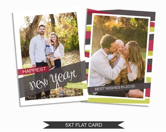 New Year's Card Template - 5x7 Photo Card - Photoshop Template - INSTANT DOWNLOAD or Printable - NY01