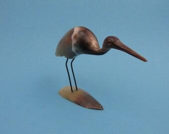 Vintage horn crane/stork statue, figurine, Mid Century Design, handmade | 60s