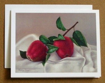 Apples - fruit painting - fine art notecard - stationary - paper goods - greeting cards
