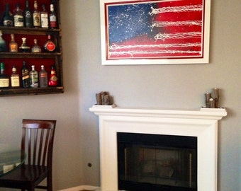 "American Flag Painting Artwork - Original on Canvas - Patriotic Painting -Framed, Ready to Hang- LARGE 47""x 29"" -Fine Art- Red White & Blue"