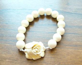 Ivory Rose Beaded Bracelet