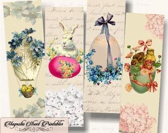 Easter Bookmarks, Printable Vintage Spring Bookmarks, Printable Vintage Bunny and Chick Bookmarks, Digital Collage Sheet, Instant Download