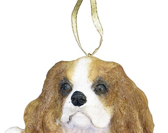 King Charles Cavalier Ornament With Personalized Name Plate A Great Gift For Cavalier Lovers, Cavalier Gift, Dog Gift