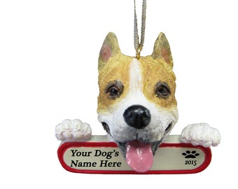 Pit Bull Ornament With Personalized Name Plate A Great Gift For  Pit Bull Lovers