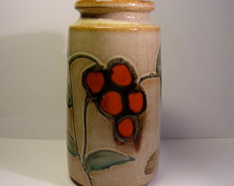 50 PERCENT OFF  Scheurich vase, 201 18, beige with red flowers and green leaves