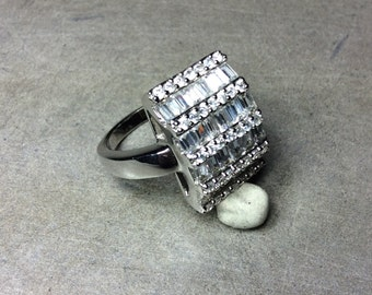 Rectangle Baguette Cubic Zirconia and Sterling Silver Ring Size 9
