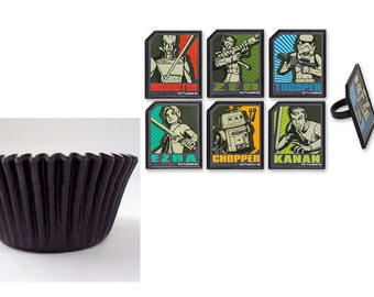 Star Wars Rebels Regiment Rings with 12 Black Baking cups