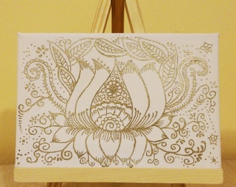 Lotus: Awakening (Unique Hand-drawn Henna Art, Original Painting on Canvas)