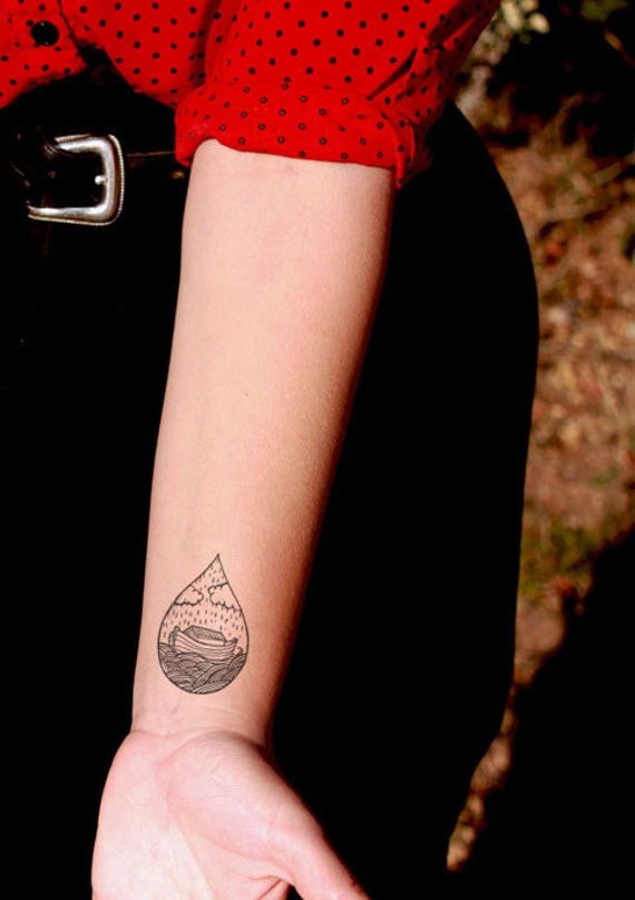 Custom ark water drop temporary tattoo somaarttattoo for Wash off temporary tattoos