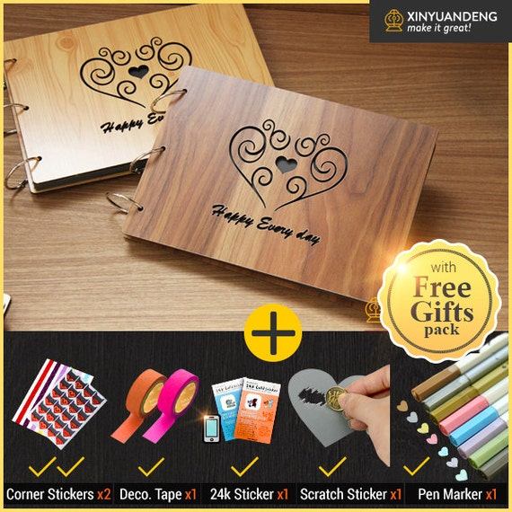 Wedding Guest Book Cover Diy : Love heart striple wood cover scrapbook album diy photo