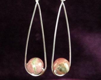 Rhodocrosite earrings, pink, dangle, silver, sterling silver, pink green, wire wrap, minimalist, modern, drop, swing