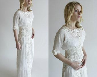 Edwardian Wedding Dress / Vintage Antique Lawn Dress