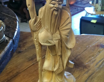 Vintage Chinese Carved Wooden Figure of Bearded Man Holding a Staff