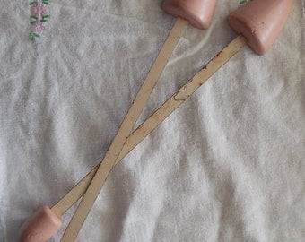 "Shoe Stays 11 1/2"", Vintage Pink Inserts with Wood Tips, Collectible Accessory"