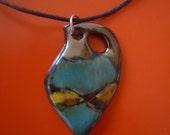 Amphora pendant Mediterranean. Ceramic jewelry. Clay necklace. Pottery pendant. Multicolored.  Greek oil jar.  Gloss glaze. FREE SHIPPING!