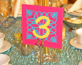 Wedding table Numbers. Handmade table numbers with bling rhinestones. Table numbers for weddings, proms, and special events.