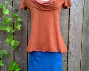SALE ***  Scoop Cowl Short Sleeve Top, Organic Cotton Jersey