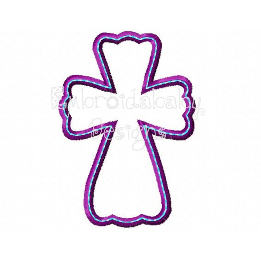 Christian cross machine applique embroidery design sizes in