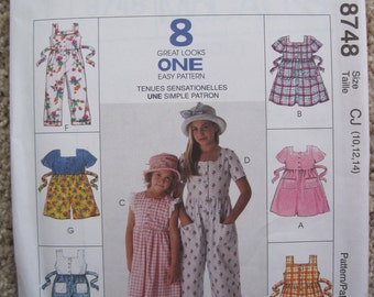 UNCUT Children's and Girls' Dress, Jumpsuit and Rompers - Size 10 to 14 - McCalls Pattern 8748
