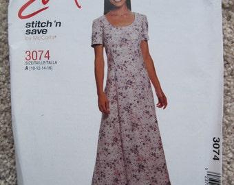 UNCUT Misses Dress - Size 10 to 16 - McCalls Pattern 3074