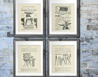 Blacksmith Decor Art Prints set of 4 unframed art -blacksmith gift for men, Gift for him, blacksmithing gift Blacksmith decorations