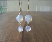 White Melon Japaneese Glass Gold Earrings