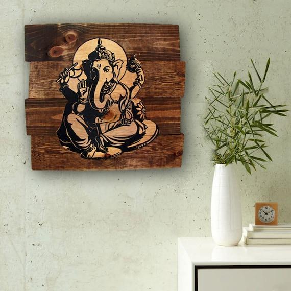 Custom Wood Wall Decor : Ganesha handmade wall hanging wood art by