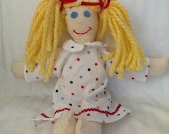 Handmade rag doll, old fashion rag doll, yarn hair rag doll