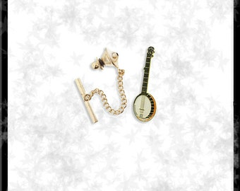 Gold & Cloisonné Banjo Tie Tack