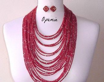 Red Seed Beads Multi Layered Statement Necklace - Opemie