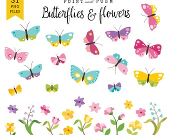 """Spring clipart: """"BUTTERFLY & FLOWERS"""" /Instant Download/"""