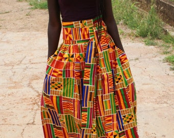 Maxi Kente Skirt with Sewn in wraparound Belt *free shipping*
