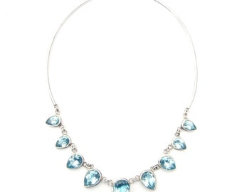 Absolutely Stunning Hand Made Blue Topaz Sterling Silver Necklace