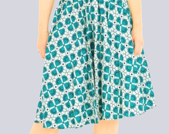 Green Dress, V Neck Dress, Summer Dress, Knee Length Dress, Print Dress, Sleeveless Dress, Handmade Dress, Cotton Dress, African Print Dress