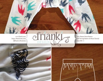 Baby Harem Pants - PDF Sewing Pattern and Photo Tutorial - Sizes 000 to 2 - Instant Download - Kids Toddler Child Easy Sew Pattern