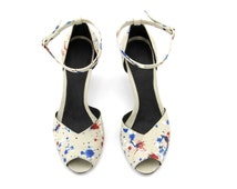 High Heel, Mary, Grey White Red Blue Paint Splatter Leather Peep Toe Women's Sandals shoes