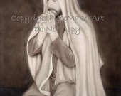 """Beautiful depiction of Christ kneeling in prayer titled """"Jesus Christ my Advocate"""" by Amy Pectol Oberhansley a fine Christian wall art piece"""