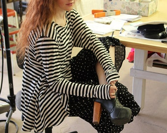 WWSW Black White Striped Sailor FRENCHIE Top Long Sleeve Thumbhole O/S