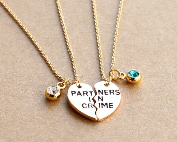 items similar to partners in crime necklace birthstone