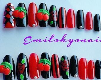 Sale! Vintage,Cherry Nails,20xPin up Girl nails,Fake Nails,Stiletto Nails,Oval Nails,Hand Painted False Nails,Free Shipping