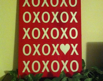 XO Valentines day wooden sign