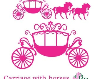 SVG DXF PNG Princess Carriage horse Cutting file digital instant download Cinderella die cut Silhouette Cameo template EasyCutPrintPD