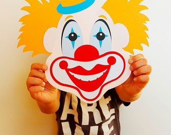 Clown circus Clipart face template (svg, eps, dxf, ai, jpg, png) 3D Cutting elements Clip Art Cut file for Silhouette Cameo EasyCutPrintPD