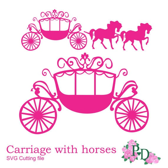 svg dxf png princess carriage horse cutting file digital baby buggy clip art free Baby Buggy Illustration