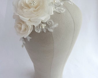 Bridal Rose and Lace Headpiece, Vintage Style Floral Headband, Bridal Flower Crown