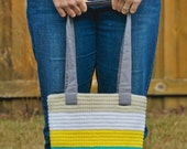 Fully Lined Crochet Striped Tote, Tan, White, Yellow, Cyan & Gray