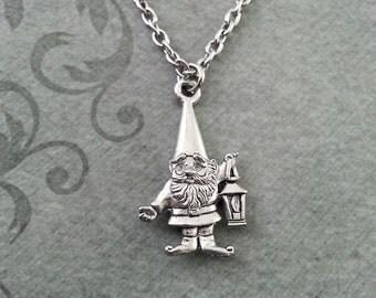 Gnome Necklace SMALL Silver Lawn Gnome Jewelry Garden Gnome Gift Lantern Necklace Fantasy Necklace Gnome Pendant Gnome Charm Bridesmaid Gift