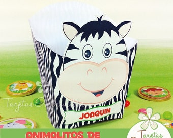 Animals of the jungle Popcorn box printable ZEBRA