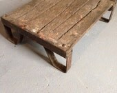 """Extremely rare 1890s Industrial Pallet Coffee Table. Large """"mushroom cap"""" rivets, cast iron, original patina. Clear coated. Gorgeous!"""